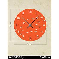 Фигурные дизайнерские акриловые настенные часы IdeaX Птицы 1A-27-30x30_c, 30х30 см