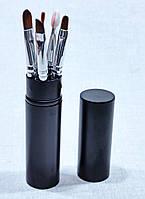 Миниатюрный набор кистей для макияжа 5 штук в тубусе, фото 1