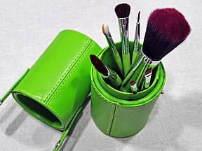 Набір кистей для макіяжу Look Like в тубусі зелені
