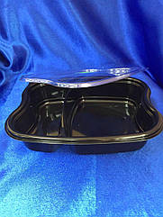 Контейнер пластиковый чёрный для еды  на 2 секции с крышкой пр-лг-1000/360штук
