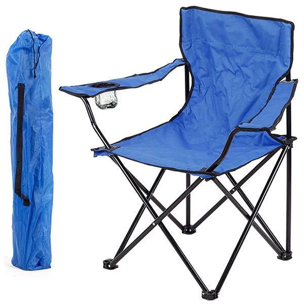Розкладний стілець крісло для риболовлі і пікніка ПАВУК з Чохлом (синій)