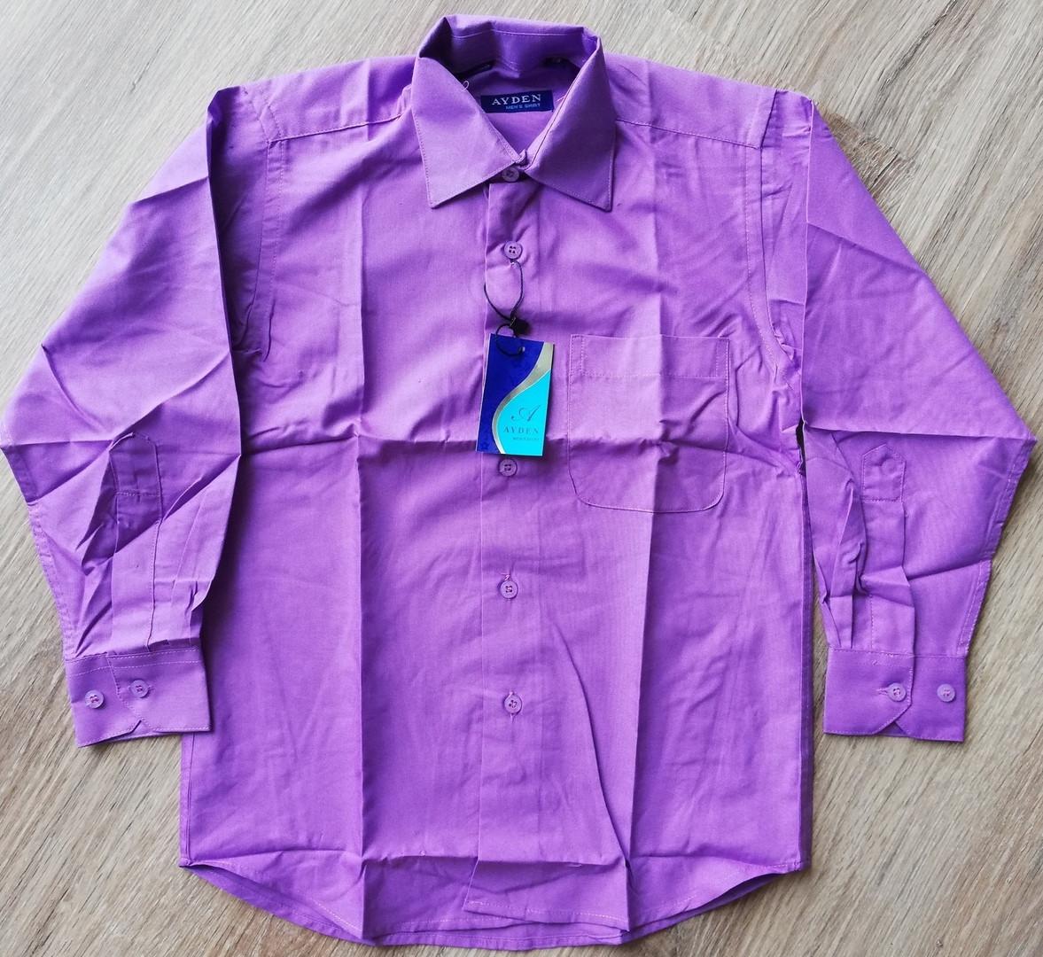 Детская рубашка с длинным рукавом Ярко-фиолетовая размеры 31