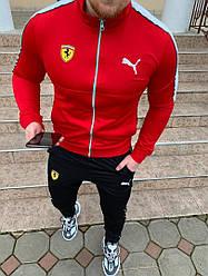 Мужской спортивный костюм - в стиле Puma ( Ferrari ) Красный Качество 100%