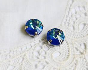 Стразы стеклянные Риволи 10мм, в пришивной оправе, сине-зеленый