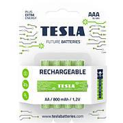 Батарейки аккумуляторные TESLA AAA GREEN+ RECHARGEABLE (HR03), 4 штуки AAA RECHARGEABLE+
