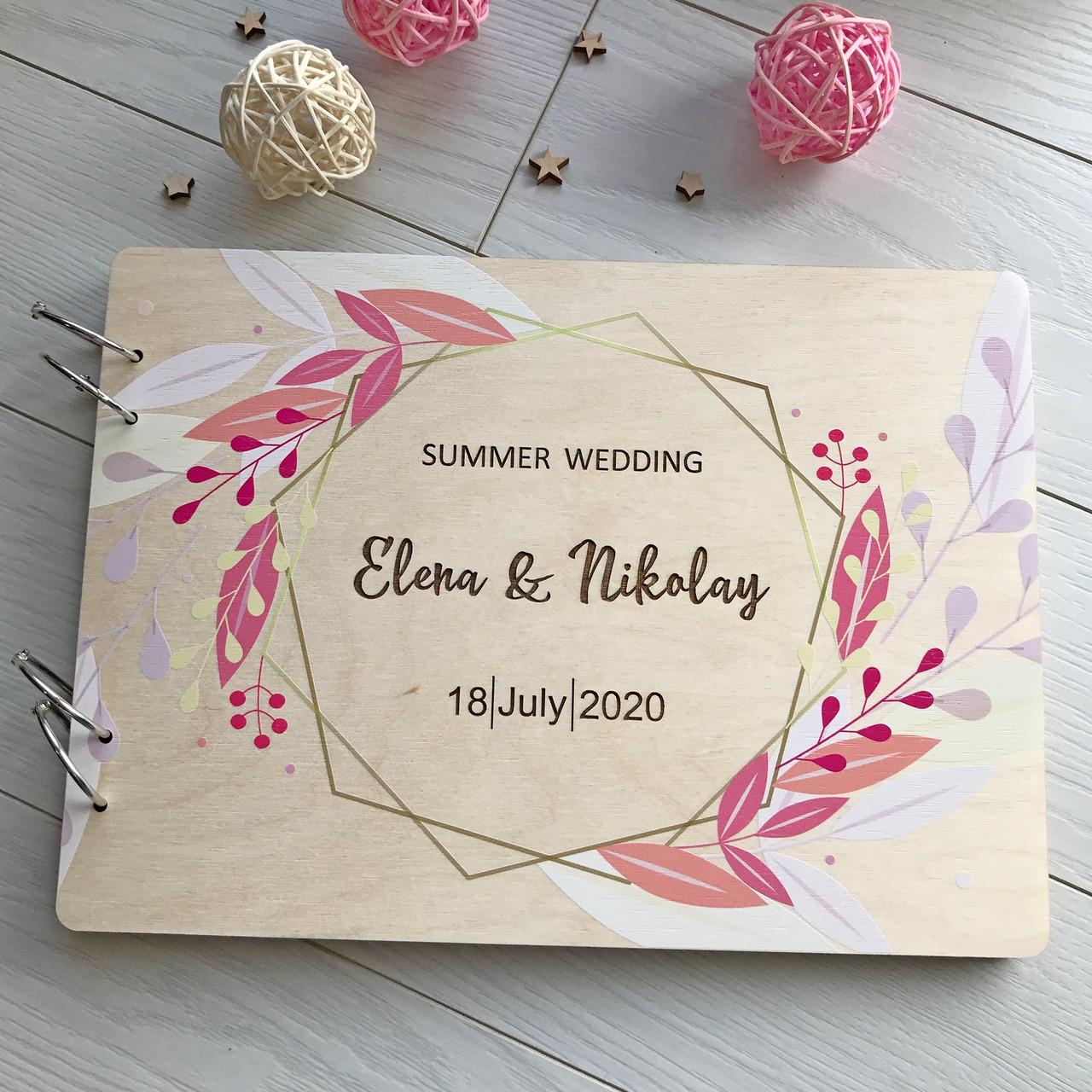 Деревянный альбом для свадебных фотографий