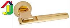 Ручка раздельная Kedr R 10.038 золото/золото мат круглое основание, ручка на розетке для межкомнатной двери