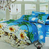 Постельное белье 3д морская тематика, голубое, полисатин