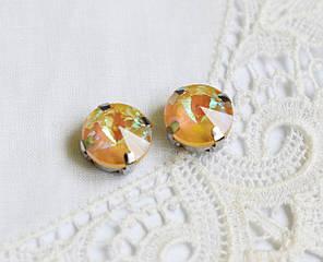 Стразы стеклянные Риволи 10мм, в пришивной оправе, оранжевые