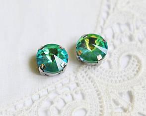 Стразы стеклянные Риволи 10мм, в пришивной оправе, зеленые