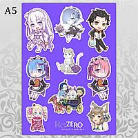 Стикеры Аниме Re Zero без порезки