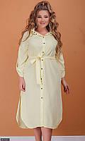 Платье женское летнее молодежное большого размера 881832-1 светло- желтый