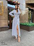 Нежное платье в горошек на запах с длинным рукавом, длина макси,  2цвета, Р-р.42-44,46-48. Код 411Ц, фото 2
