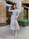 Нежное платье в горошек на запах с длинным рукавом, длина макси,  2цвета, Р-р.42-44,46-48. Код 411Ц, фото 3