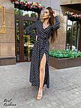 Нежное платье в горошек на запах с длинным рукавом, длина макси,  2цвета, Р-р.42-44,46-48. Код 411Ц, фото 6