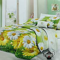 Постельное белье РОМАШКИ 3D зеленое с цветами