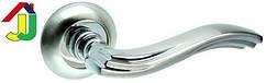 Ручка раздельная Kedr R 10.063 хром/никель мат круглое основание, ручка на розетке для межкомнатной двери