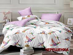 Двуспальный набор постельного белья 180*220 из Сатина №8011AB Черешенка™