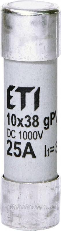 Предохранитель цилиндрический CH10x38 gPV 25A/1000V DC