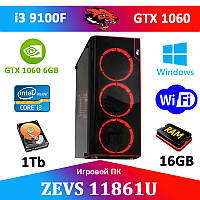 Супер игровой ПК ZEVS PC 11861U i3 9100F + GTX 1060 6GB +16GB DDR4 +Игровая клавиатура