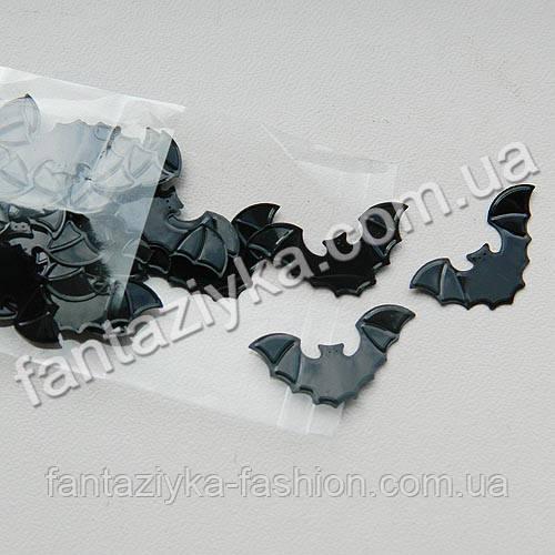 Пайетки фигурные Летучие мыши 26мм Хеллоуин, 2г