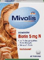 Биологически активная добавка Mivolis Biotin 5mg N, 60 шт., фото 1