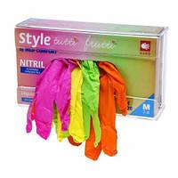 Перчатки одноразовые нитриловые без пудры 96 шт разноцветные STYLE Tutti Frutti размер M