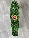 Скейт Penny Board, с широкими светящимися колесами Пенни борд, пенниборд детский , от 4 лет, Камуфляж, фото 4