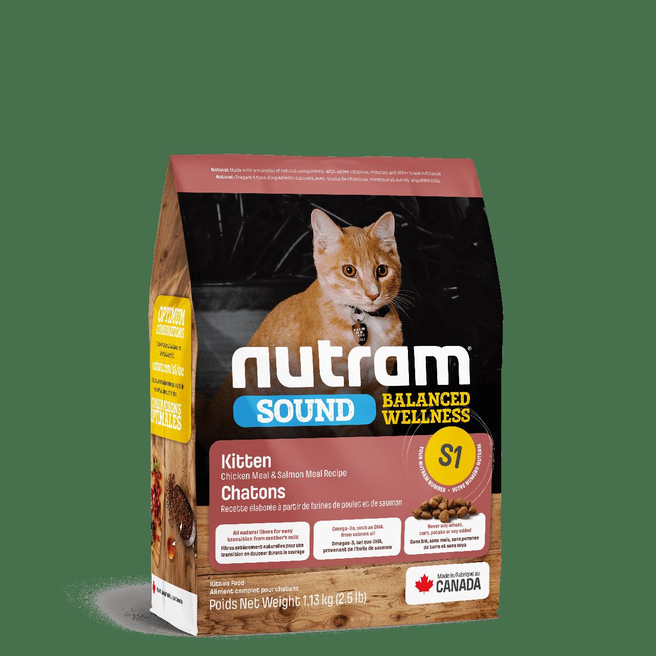 НУТРАМ S1 Nutram Sound з куркою і лососем збалансований сухий корм для кошенят, 1,13 кг