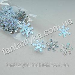 Пайетки Снежинки 18мм серебряные с голограммой, 2г