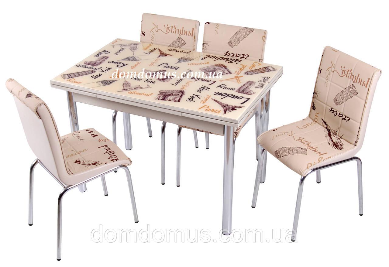 """Комплект обеденной мебели """"Krem Paris"""" (стол ДСП 90*60 см, каленное стекло + 4 стула) Mobilgen, Турция"""