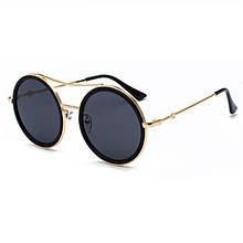Стильные круглые очки для женщин hikulity Черный+Золотой