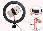 Кольцо светодиодное 26 см с держателем для телефона на штативе 2 м. LED кольцо для селфи 26 см, фото 6