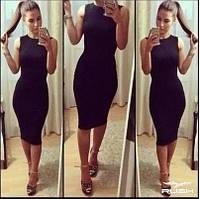 Облягаюче літнє плаття до колін чорне 42