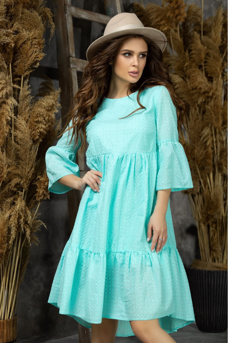 Літнє жіноче плаття з прошвы,ментол 42-44,46-48
