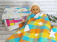 Детское стеганое одеяло плед простынь 110*110 лен натуральное
