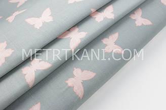 """Бязь постельная """"Маленькие бабочки"""" розового цвета на сером фоне  220 см № 1-159"""
