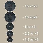 Комплект 101 кг   Штанга прямая и с W-образным грифом + гантели, фото 4