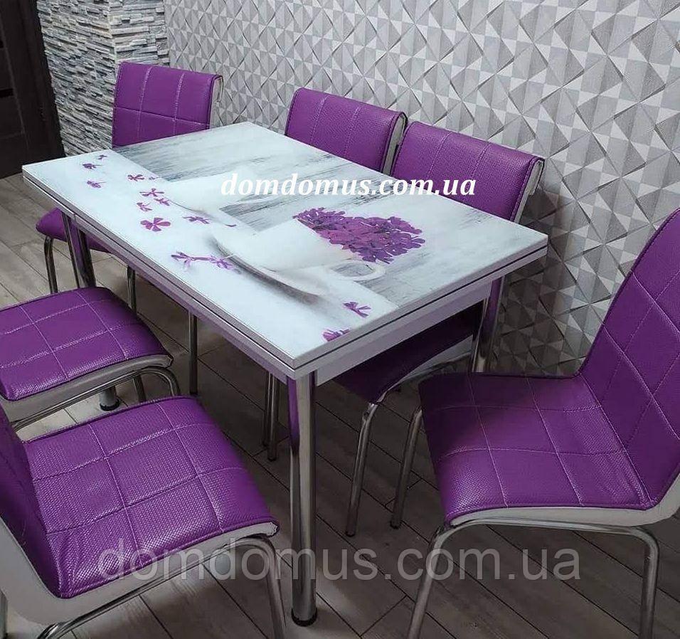 """Комплект обеденной мебели """"Vazo"""" 90*60 см (стол ДСП, каленное стекло + 4 стула) Mobilgen, Турция"""