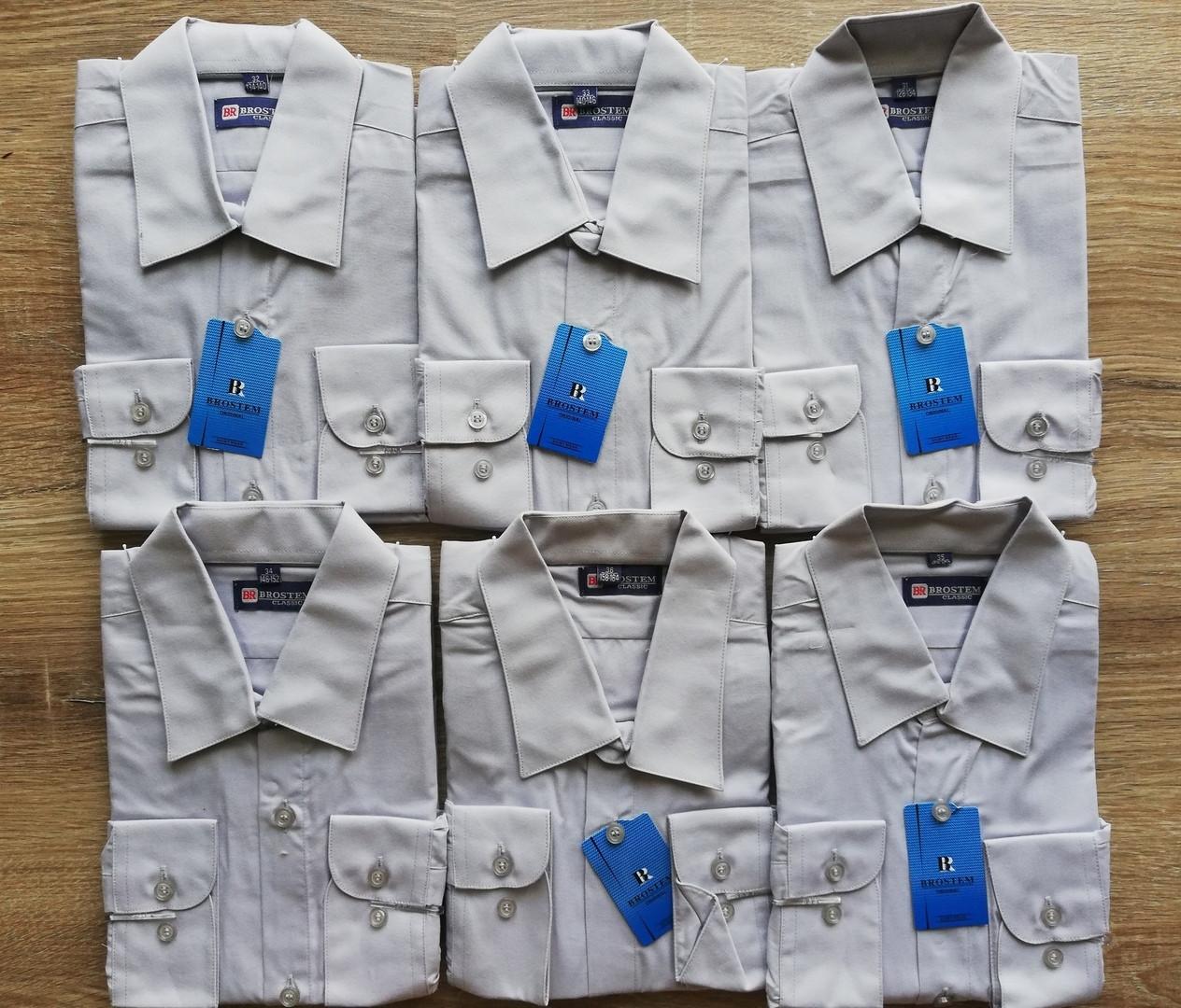 Детская рубашка с длинным рукавом Светло-серая от 116 до 164 см