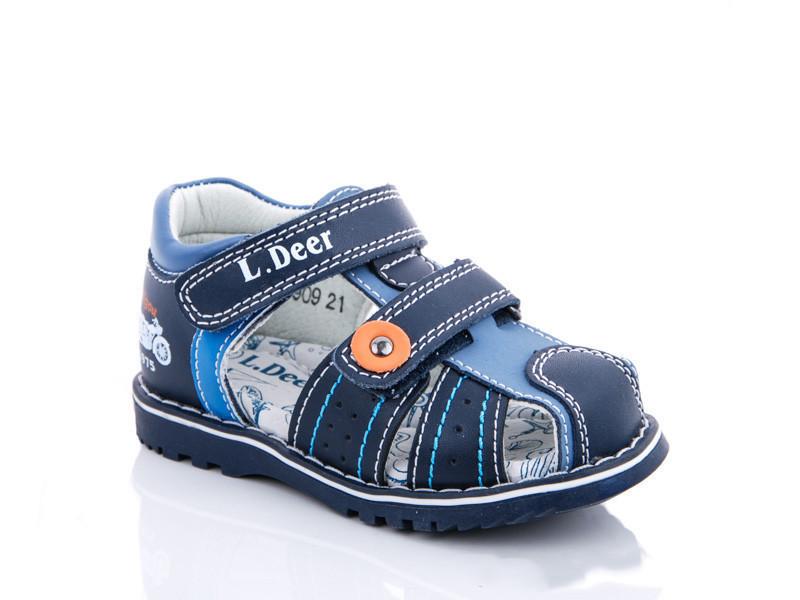 Сандалі дитячі шкіряні ортопедичні для хлопчика синій колір розмір 22-25 Київ