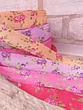 Лента атласная  в мелкий цветочек, прованская, 2.3 см, 10 грн\м, фото 2