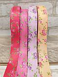 Лента атласная  в мелкий цветочек, прованская, 2.3 см, 10 грн\м, фото 5