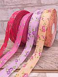 Лента атласная  в мелкий цветочек, прованская, 2.3 см, 10 грн\м, фото 3