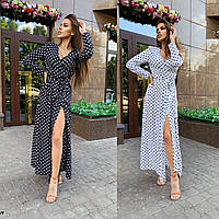 Женское летнее длинное белое черное платье в пол на запах в горошек 42-44 46-48софт популярное с длинным рукав