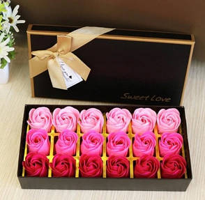 Подарочный набор мыла в виде лепестков роз,мыльные розы. Розы из мыла 18шт розовые, фото 2