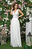 Длинное женское белое платье с гипюром 42,44,46