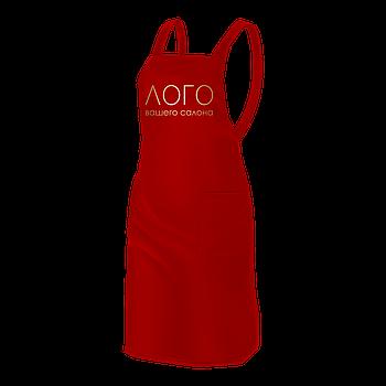 Однотонный фартук мастера, красного цвета, с логотипом Вашего салона