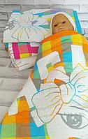 Детское стеганое одеяло плед простынь 110*110 лен хлопок