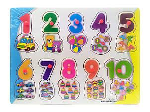Деревянная игрушка Рамка-вкладыш MD 0646-550 с ручкой, цифры
